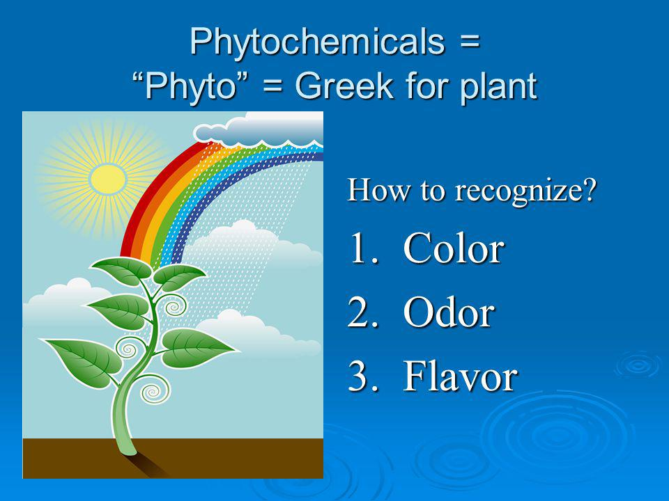 Phytochemicals = Phyto = Greek for plant How to recognize? 1. Color 2. Odor 3. Flavor