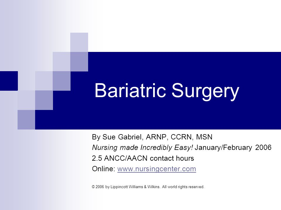Obesity Defined Body mass index (BMI) > 30 kg/m 2 Morbidly obese: BMI > 40 kg/m 2 or more Goal of bariatric surgery is weight reduction
