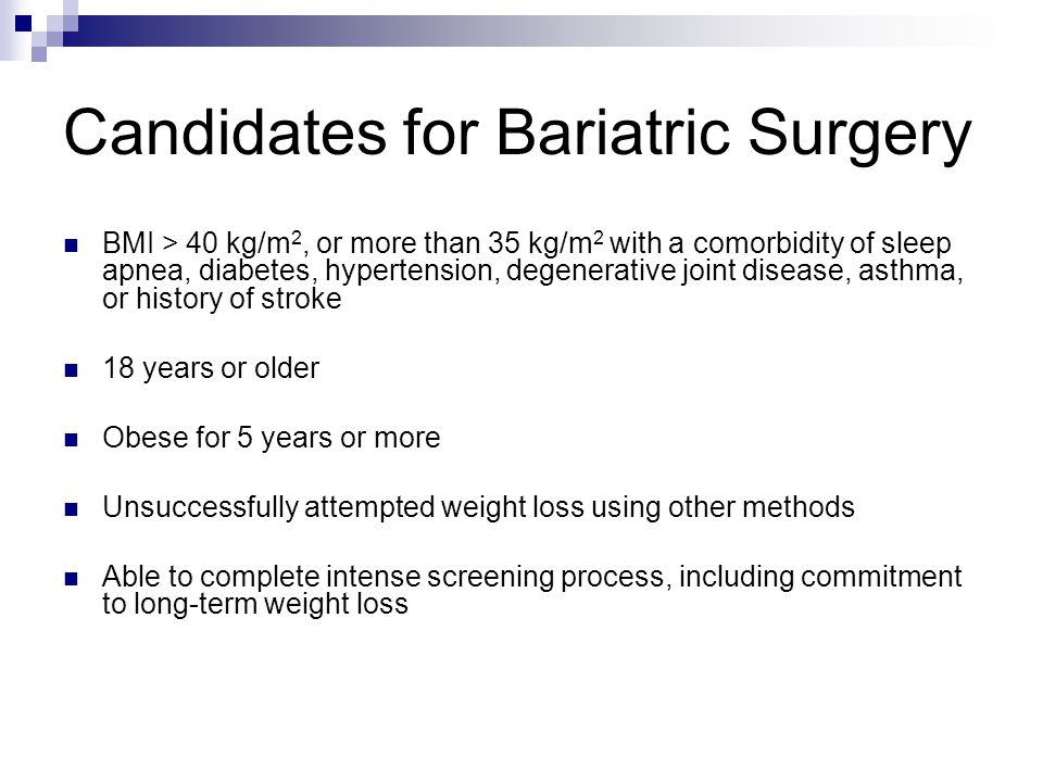 Types of Bariatric Surgery Restrictive-Creates a gastric pouch with a narrow outlet, so patient feels full sooner; examples: gastroplasty, gastric banding Vertical banded gastroplasty: Surgical staples create a small gastric pouch and a band as an outlet for the pouch Circumgastric banding: Adjustable, inflatable band placed around fundus of stomach