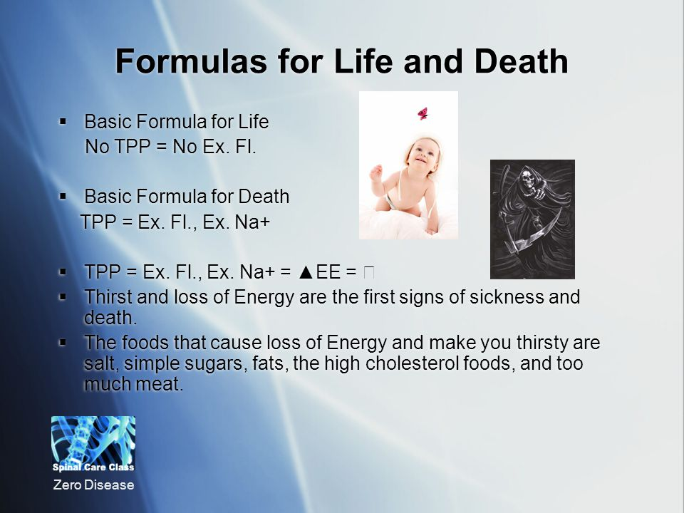 Zero Disease Formulas for Life and Death Basic Formula for Life No TPP = No Ex.