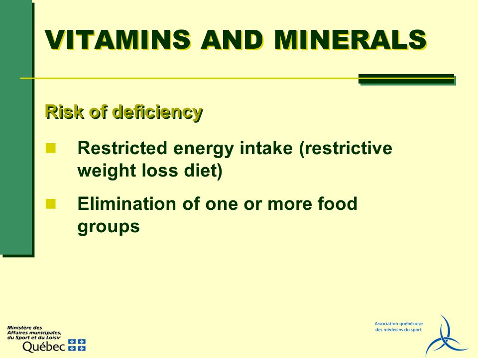 VITAMINS AND MINERALS Restricted energy intake (restrictive weight loss diet) Elimination of one or more food groups Risk of deficiency