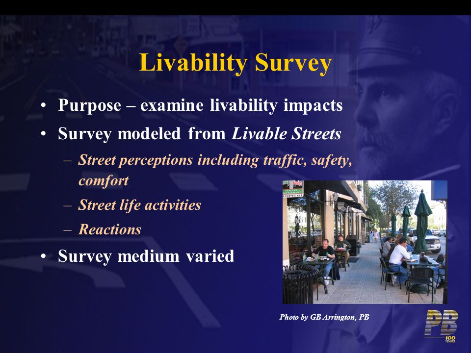 Livability Survey Purpose – examine livability impacts Survey modeled from Livable Streets –Street perceptions including traffic, safety, comfort –Str