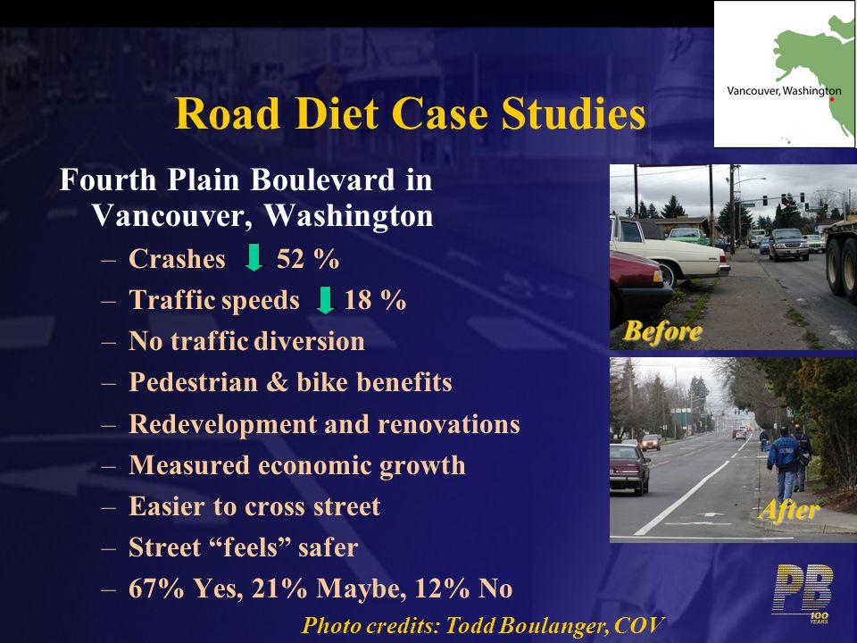 Road Diet Case Studies Fourth Plain Boulevard in Vancouver, Washington –Crashes 52 % –Traffic speeds 18 % –No traffic diversion –Pedestrian & bike ben