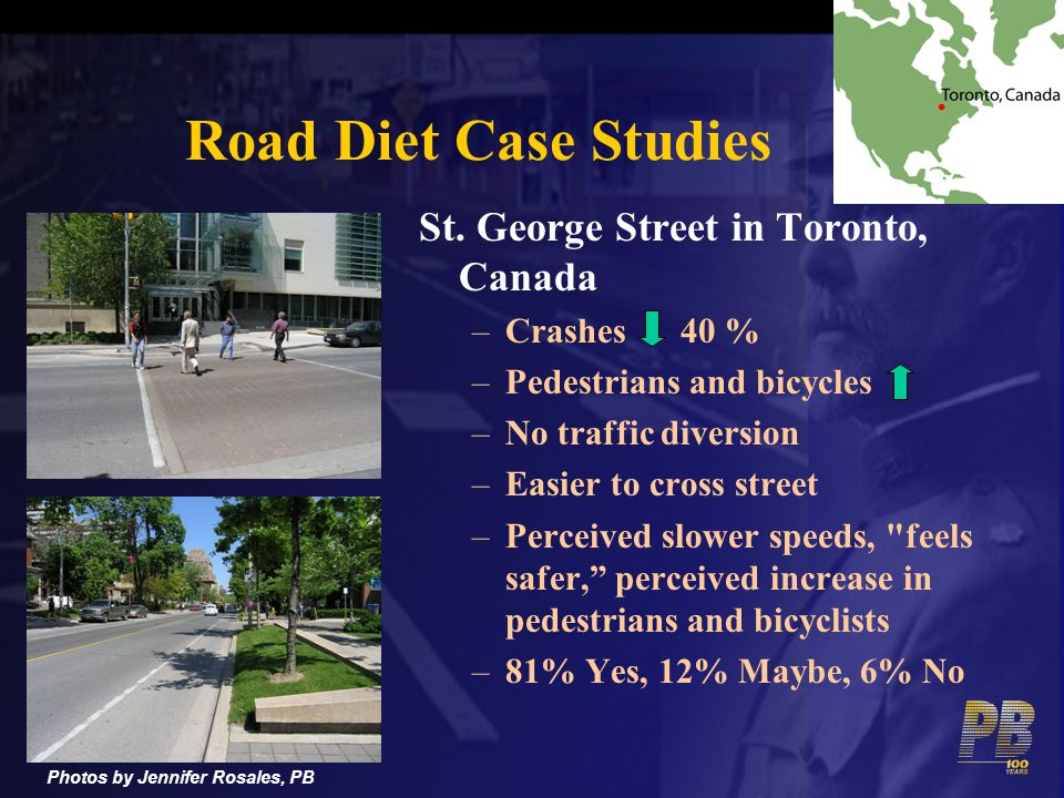 St. George Street in Toronto, Canada –Crashes 40 % –Pedestrians and bicycles –No traffic diversion –Easier to cross street –Perceived slower speeds,