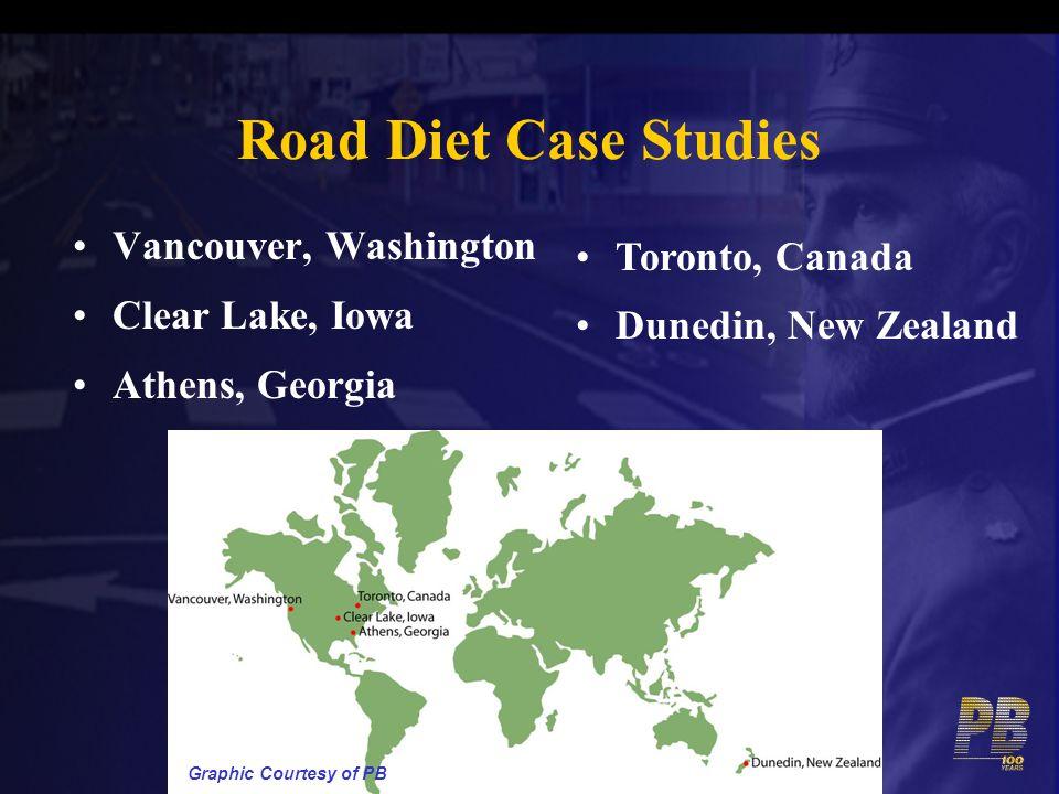 Road Diet Case Studies Vancouver, Washington Clear Lake, Iowa Athens, Georgia Toronto, Canada Dunedin, New Zealand Graphic Courtesy of PB