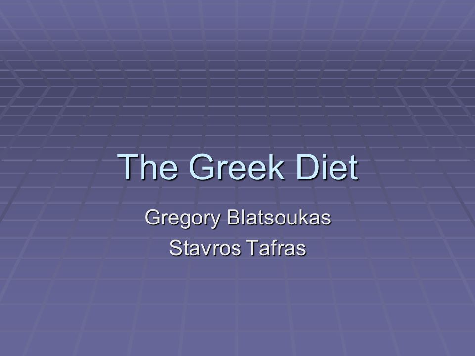 The Greek Diet Gregory Blatsoukas Stavros Tafras