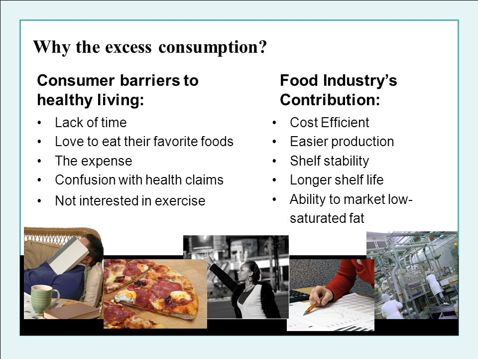 Why the excess consumption? Cost Efficient Easier production Shelf stability Longer shelf life Ability to market low- saturated fat Consumer barriers
