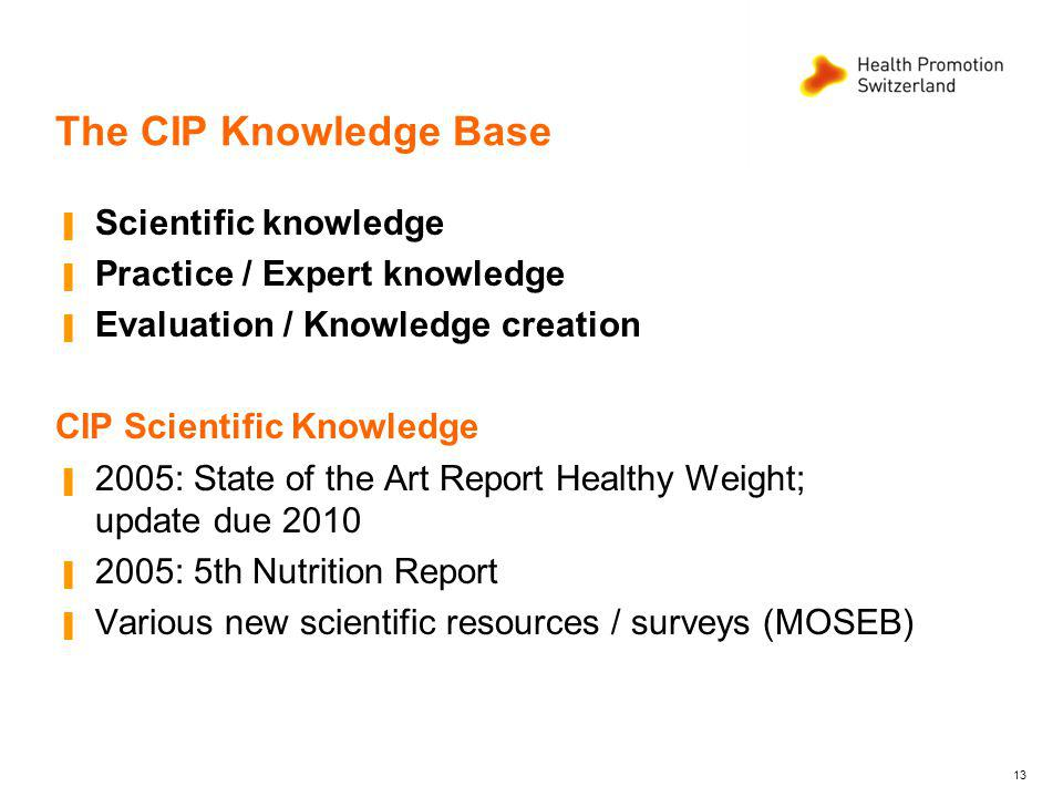 The CIP Knowledge Base Scientific knowledge Practice / Expert knowledge Evaluation / Knowledge creation CIP Scientific Knowledge 2005: State of the Art Report Healthy Weight; update due 2010 2005: 5th Nutrition Report Various new scientific resources / surveys (MOSEB) 13