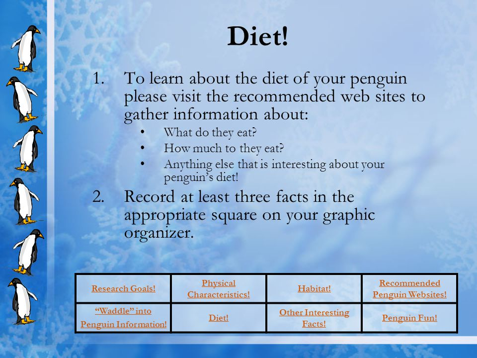 Research Goals! Physical Characteristics! Habitat! Recommended Penguin Websites! Waddle into Penguin Information! Diet! Other Interesting Facts! Pengu