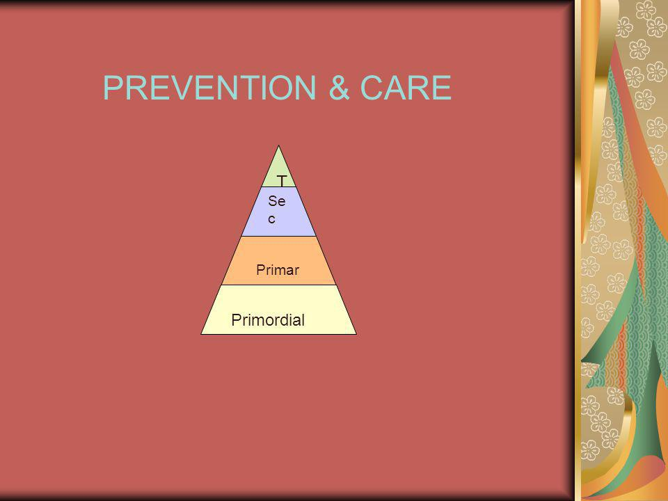 PREVENTION & CARE T Se c Primar y Primordial