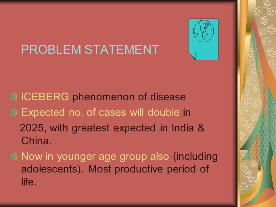 PROBLEM STATEMENT ICEBERG phenomenon of disease Expected no.