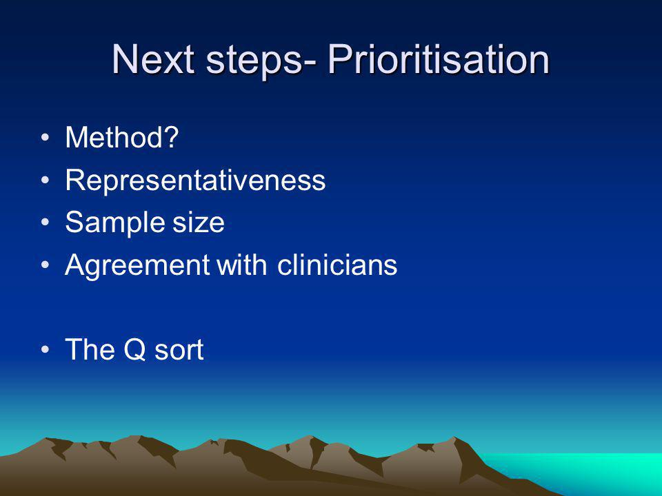 Next steps- Prioritisation Method.