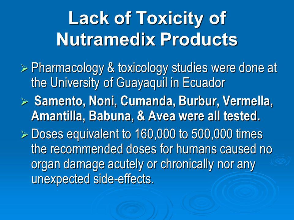Lack of Toxicity of Nutramedix Products Pharmacology & toxicology studies were done at the University of Guayaquil in Ecuador Pharmacology & toxicology studies were done at the University of Guayaquil in Ecuador Samento, Noni, Cumanda, Burbur, Vermella, Amantilla, Babuna, & Avea were all tested.
