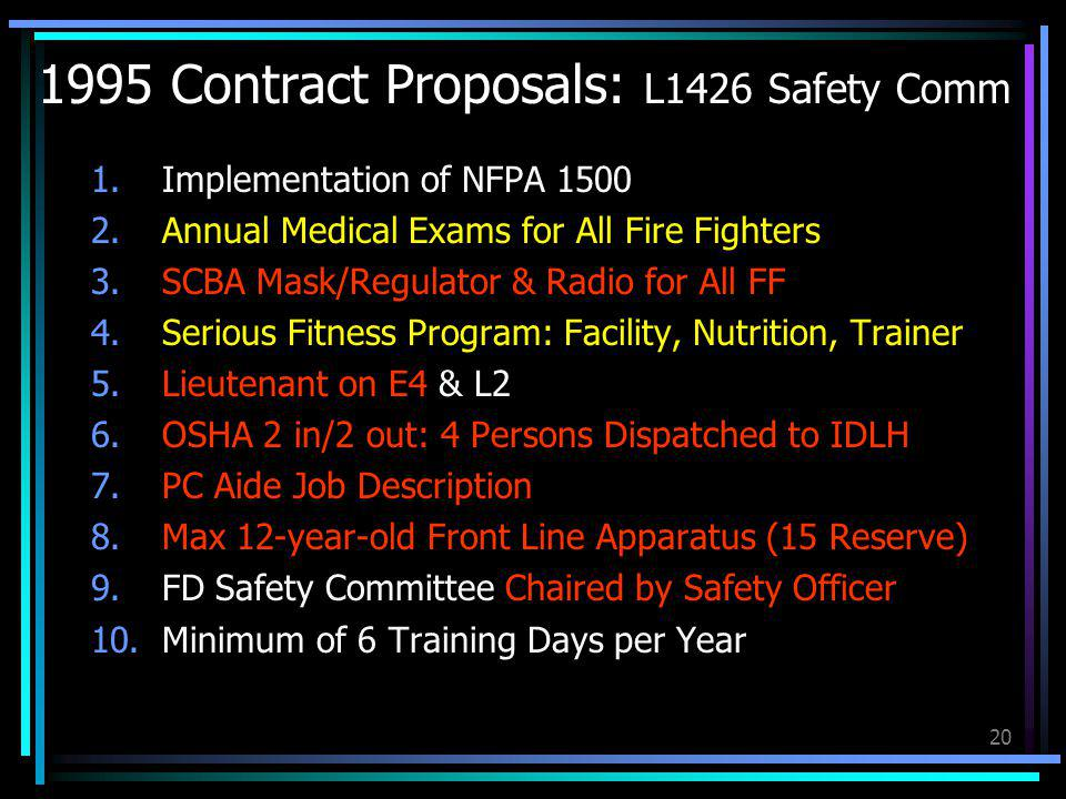 20 1995 Contract Proposals: L1426 Safety Comm 1.Implementation of NFPA 1500 2.Annual Medical Exams for All Fire Fighters 3.SCBA Mask/Regulator & Radio