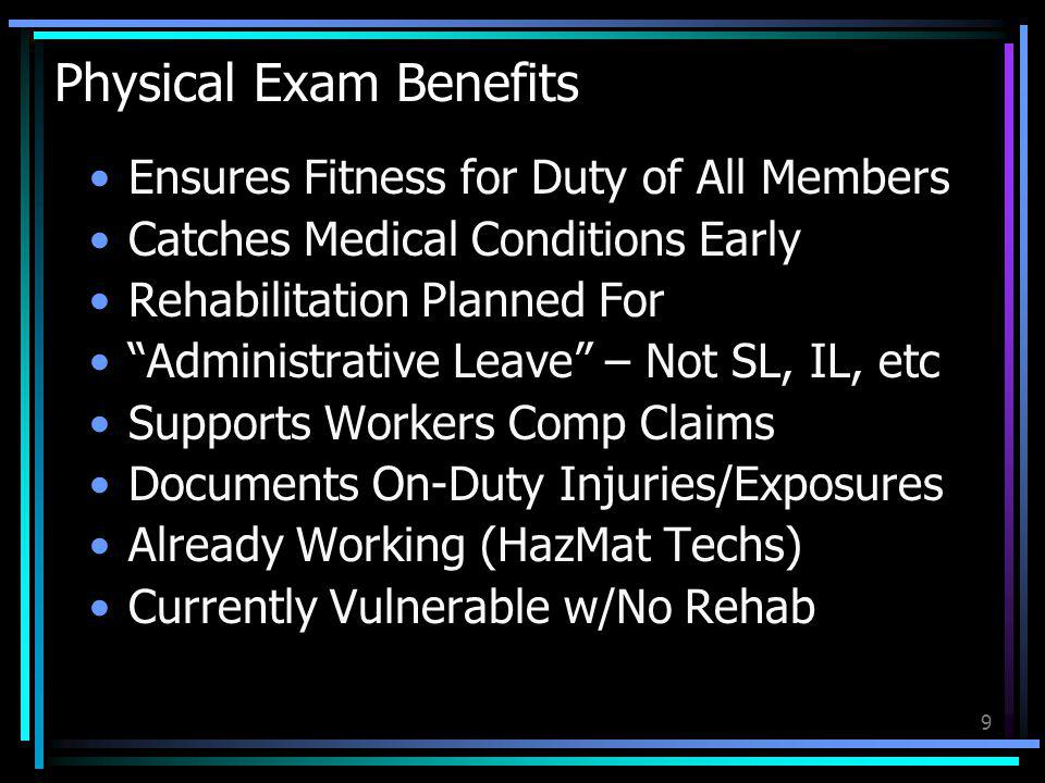 10 Physical Exam Risks No OT During Administrative Leave Difficulty Proving Appeal w/Own MD Discovering Medical Conditions Unwanted Transfer to Admin/DPW/BoE Forced Retirement (v LODD)