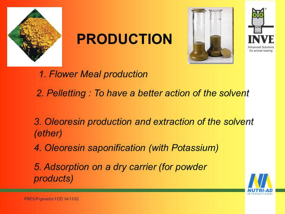 PRES/Pigments/1 DD 14/11/02 WHAT ARE NATURAL PIGMENTS Natural Pigments are based on natural Carotenoids mainly used in poultry feed. (fish feed is a n