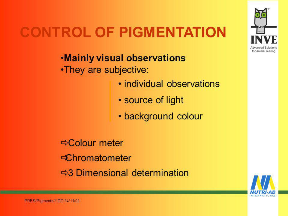 PRES/Pigments/1 DD 14/11/02 PIGMENTATION 1. Analyse the market needs in terms of colours an economic factor 2. The colour of egg yolks from light-yell