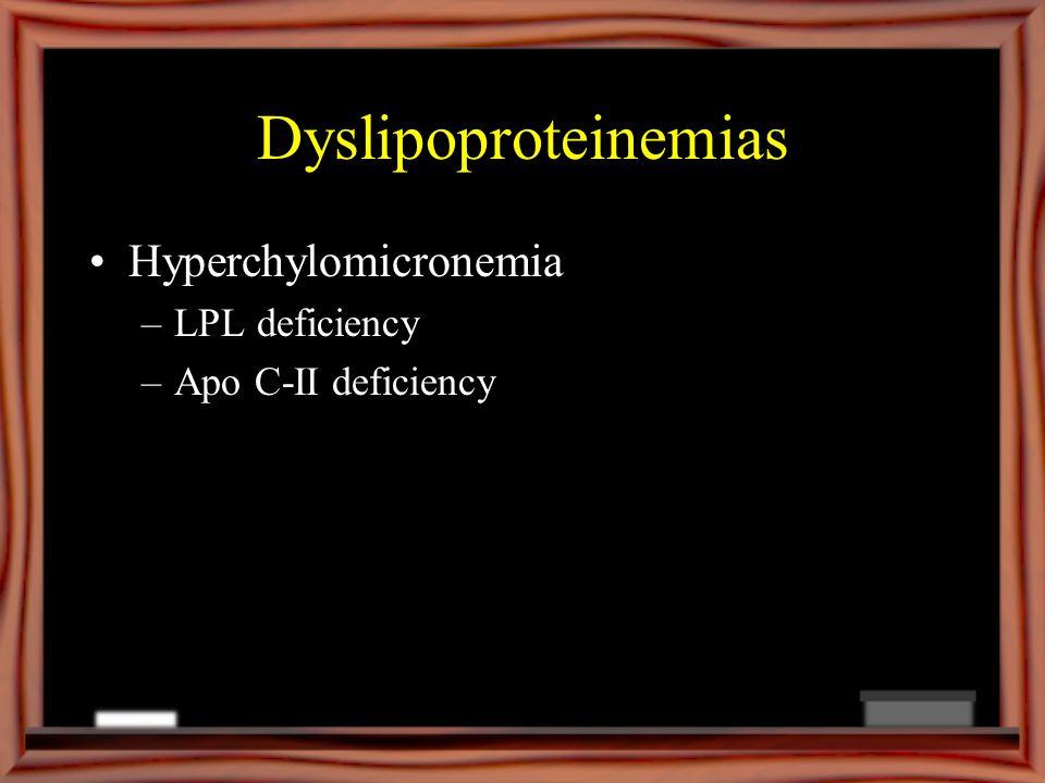 Dyslipoproteinemias Hyperchylomicronemia –LPL deficiency –Apo C-II deficiency
