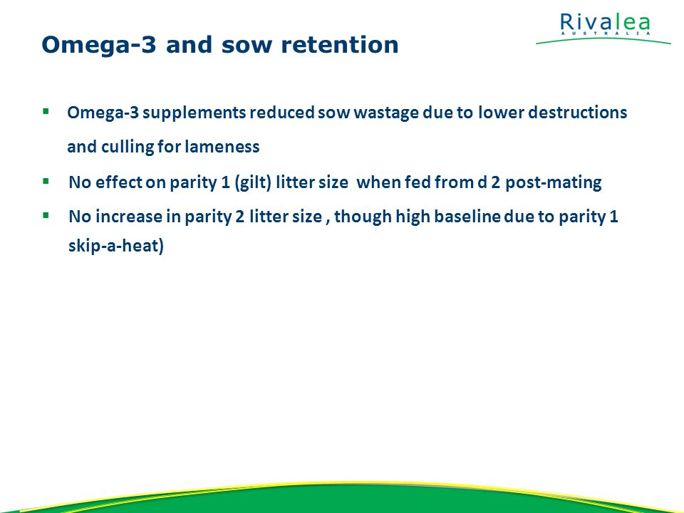 Results – Sow removal TreatmentRe-bred after parity 1 weaning (%) Mortality (%) Locomotion culls (%) All Physical removal (%) Control91.31.25.26.2 Fish oil - 3g/kg93.10.42.83.3 SignificanceNSP=0.09P =0.011P = 0.004