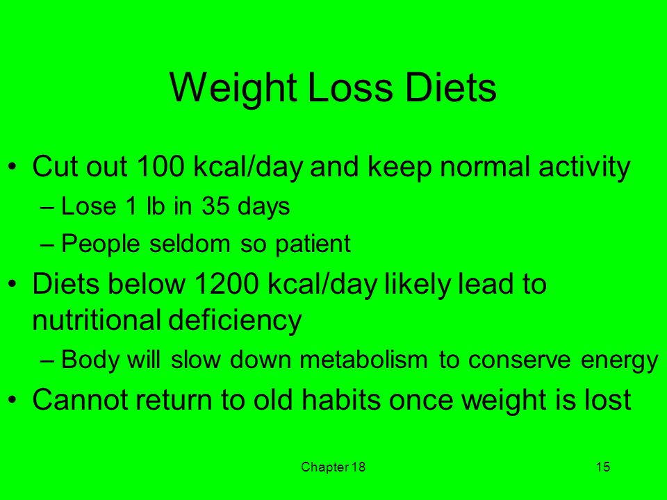 Chapter 1815 Weight Loss Diets Cut out 100 kcal/day and keep normal activity –Lose 1 lb in 35 days –People seldom so patient Diets below 1200 kcal/day likely lead to nutritional deficiency –Body will slow down metabolism to conserve energy Cannot return to old habits once weight is lost