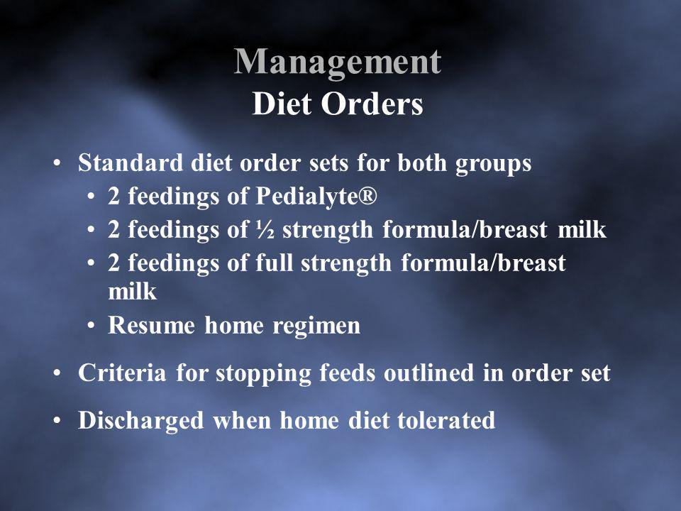Management Diet Orders Standard diet order sets for both groups 2 feedings of Pedialyte® 2 feedings of ½ strength formula/breast milk 2 feedings of fu