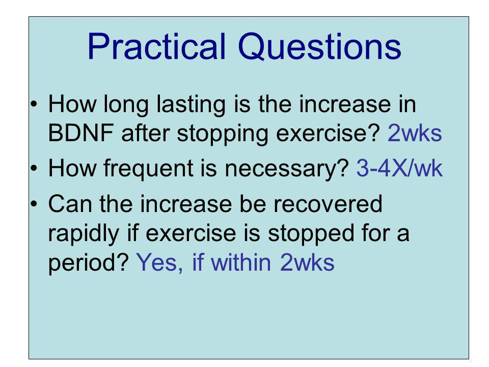 Practical Questions How long lasting is the increase in BDNF after stopping exercise.