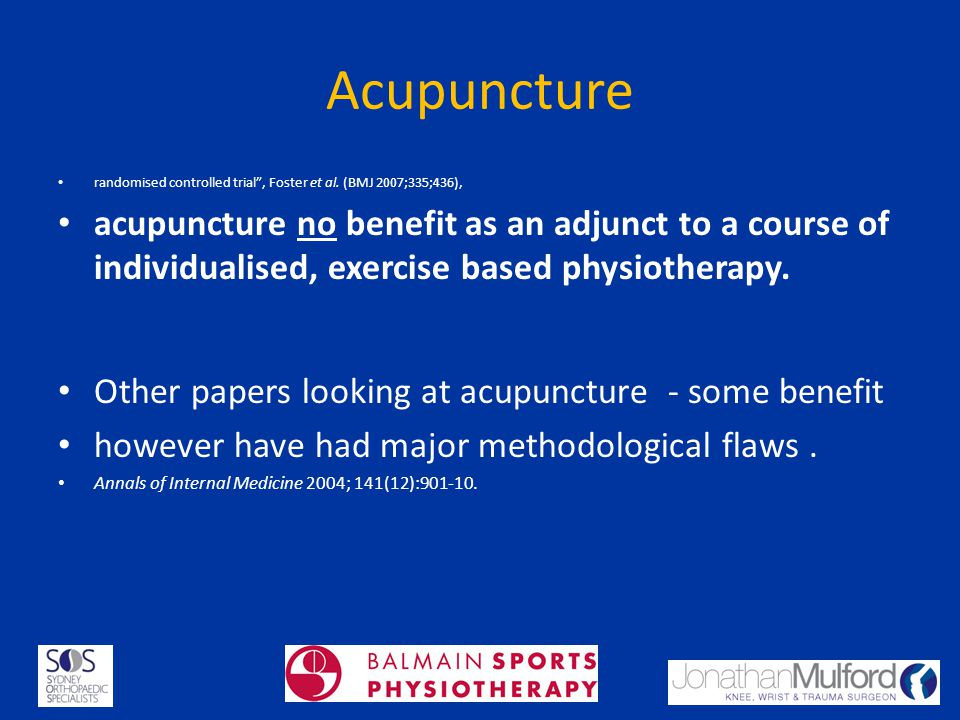Acupuncture randomised controlled trial, Foster et al. (BMJ 2007;335;436), acupuncture no benefit as an adjunct to a course of individualised, exercis