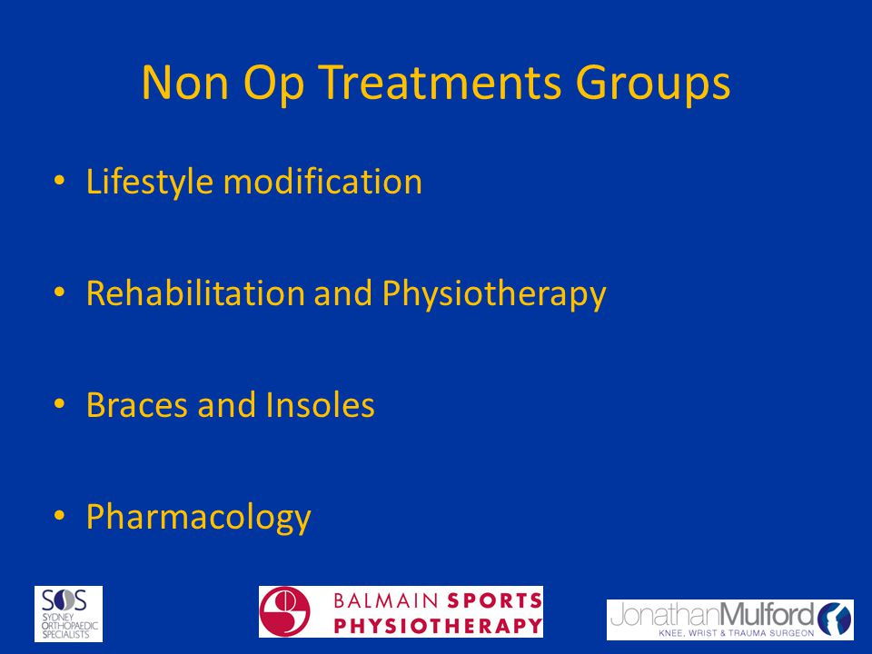 Non Op Treatments Groups Lifestyle modification Rehabilitation and Physiotherapy Braces and Insoles Pharmacology