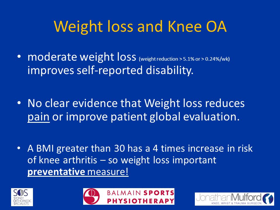 Weight loss and Knee OA moderate weight loss (weight reduction > 5.1% or > 0.24%/wk) improves self-reported disability. No clear evidence that Weight