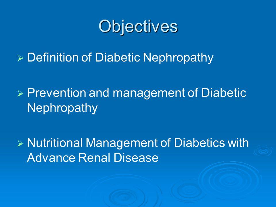 Diabetic Nephropathy Treatment of Dyslipidemias Treatment of Dyslipidemias Important in prevention of atherosclerosis Important in prevention of atherosclerosis Reductase inhibitors (Statins) may protect against glomerulosclerosis Reductase inhibitors (Statins) may protect against glomerulosclerosis ADA Goals for Lipids: ADA Goals for Lipids: LDL 100 mg/dLLDL 100 mg/dL HDL 40 mg/dLHDL 40 mg/dL