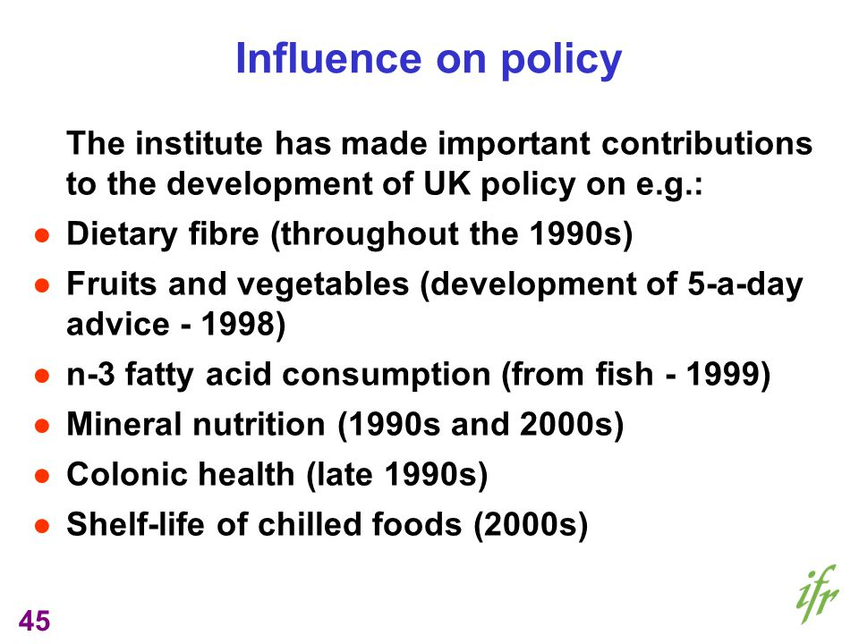 45 Influence on policy The institute has made important contributions to the development of UK policy on e.g.: Dietary fibre (throughout the 1990s) Fruits and vegetables (development of 5-a-day advice - 1998) n-3 fatty acid consumption (from fish - 1999) Mineral nutrition (1990s and 2000s) Colonic health (late 1990s) Shelf-life of chilled foods (2000s)