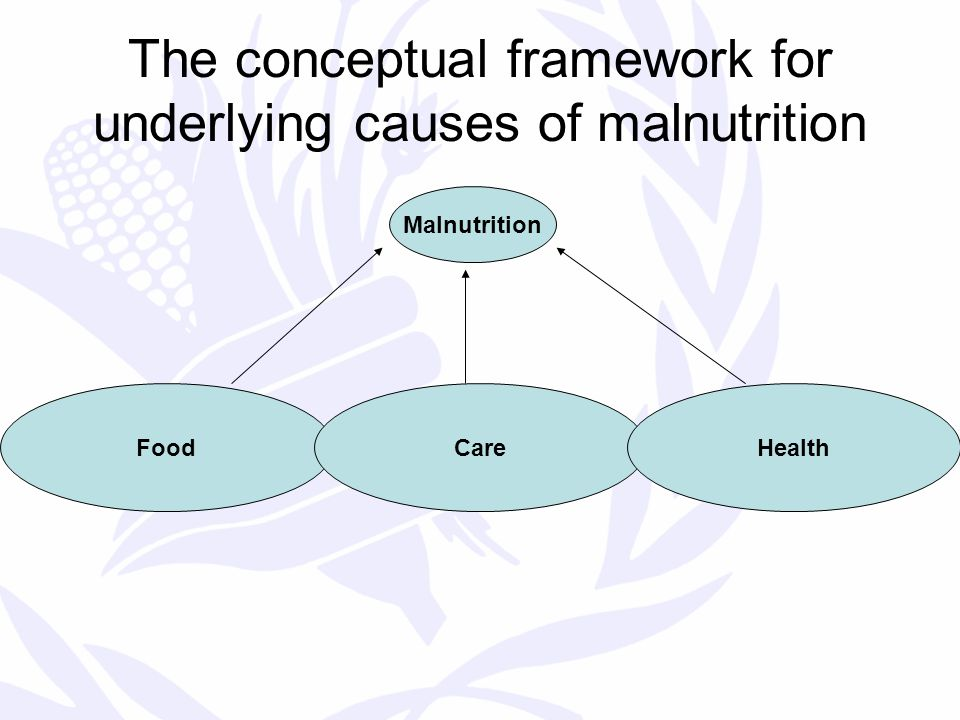 The conceptual framework for underlying causes of malnutrition Malnutrition FoodCareHealth