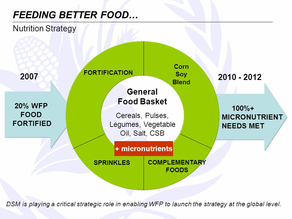 2007 2010 - 2012 20% WFP FOOD FORTIFIED 100%+ MICRONUTRIENT NEEDS MET FORTIFICATION COMPLEMENTARY FOODS SPRINKLES Corn Soy Blend General Food Basket Cereals, Pulses, Legumes, Vegetable Oil, Salt, CSB Nutrition Strategy FEEDING BETTER FOOD… DSM is playing a critical strategic role in enabling WFP to launch the strategy at the global level.