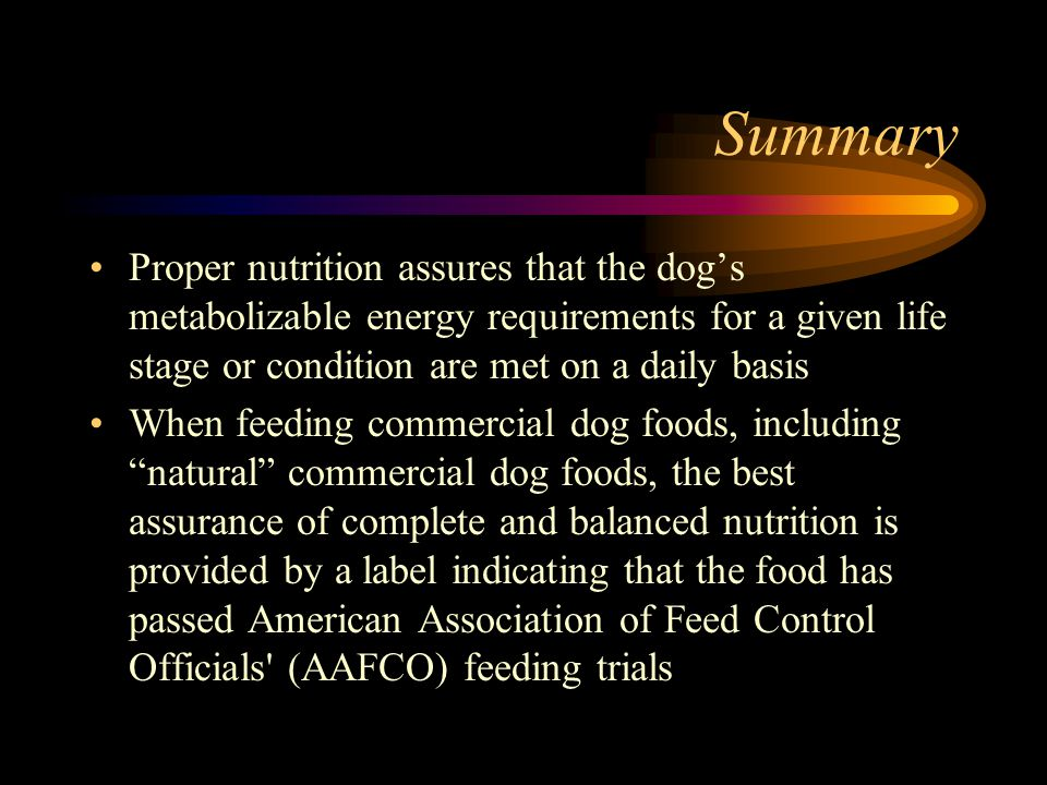 Summary Proper nutrition assures that the dogs metabolizable energy requirements for a given life stage or condition are met on a daily basis When fee