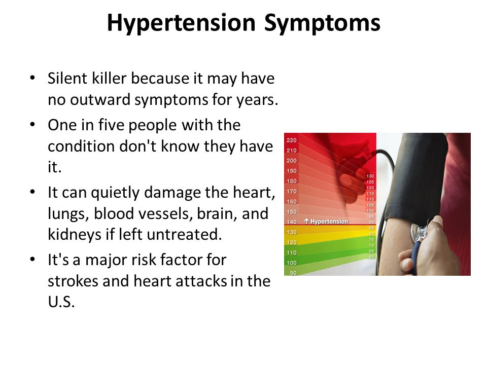 Hypertension Symptoms Silent killer because it may have no outward symptoms for years. One in five people with the condition don't know they have it.