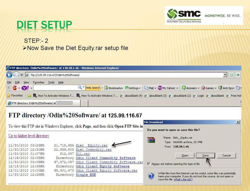 STEP:- 2 Now Save the Diet Equity.rar setup file