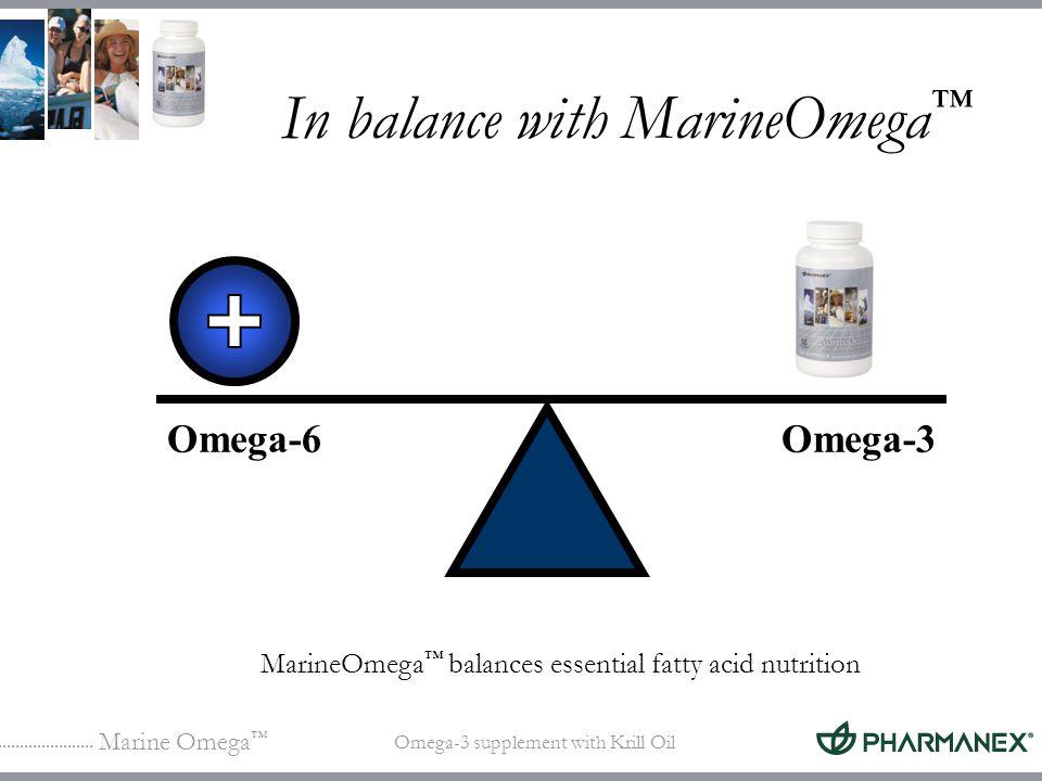 Marine Omega Omega-3 supplement with Krill Oil In balance with MarineOmega Omega-6Omega-3 MarineOmega balances essential fatty acid nutrition