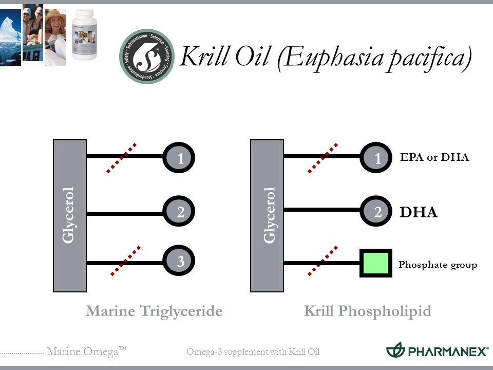 Marine Omega Omega-3 supplement with Krill Oil 1 2 3 DHA Marine TriglycerideKrill Phospholipid Phosphate group Glycerol 1 2 EPA or DHA Krill Oil (Euph