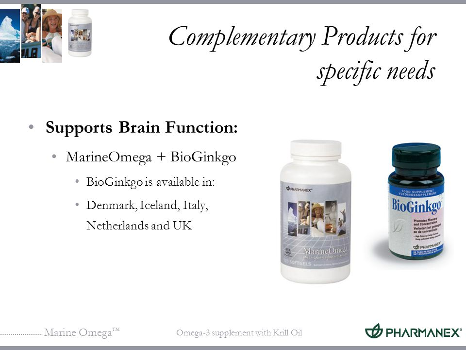 Marine Omega Omega-3 supplement with Krill Oil Complementary Products for specific needs Supports Brain Function: MarineOmega + BioGinkgo BioGinkgo is