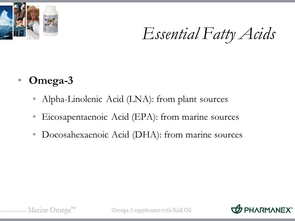 Marine Omega Omega-3 supplement with Krill Oil Essential Fatty Acids Omega-3 Alpha-Linolenic Acid (LNA): from plant sources Eicosapentaenoic Acid (EPA