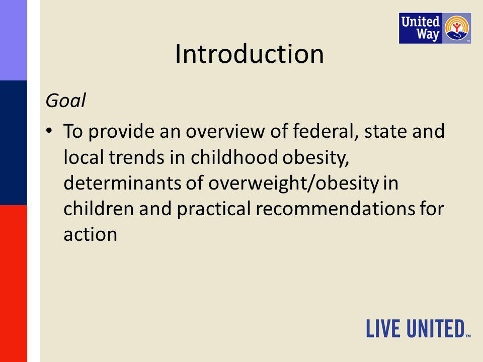 Introduction Overview – Federal, state and local trends in childhood obesity – Social, environmental and policy-based determinants – Effectiveness of available interventions – Future research needs / action steps for community members