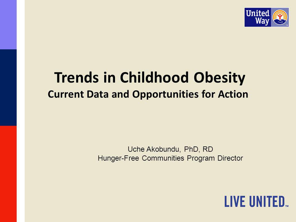 Take Home Messages Childhood obesity in the US and New Jersey is high but the rate of increase is slowing.