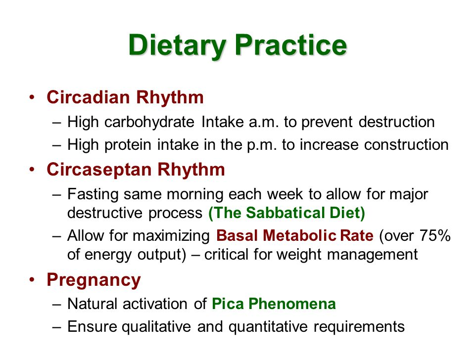 Dietary Practice Circadian Rhythm –High carbohydrate Intake a.m.