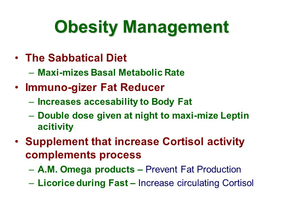 Obesity Management The Sabbatical Diet –Maxi-mizes Basal Metabolic Rate Immuno-gizer Fat Reducer –Increases accesability to Body Fat –Double dose given at night to maxi-mize Leptin acitivity Supplement that increase Cortisol activity complements process –A.M.