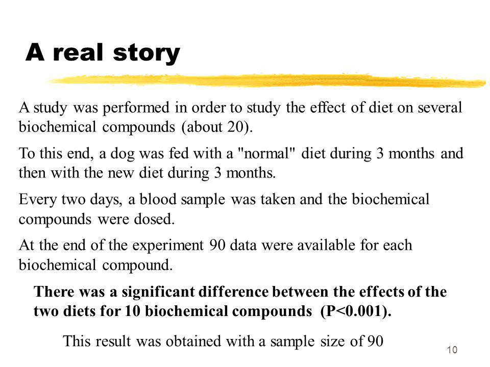 10 A real story A study was performed in order to study the effect of diet on several biochemical compounds (about 20).