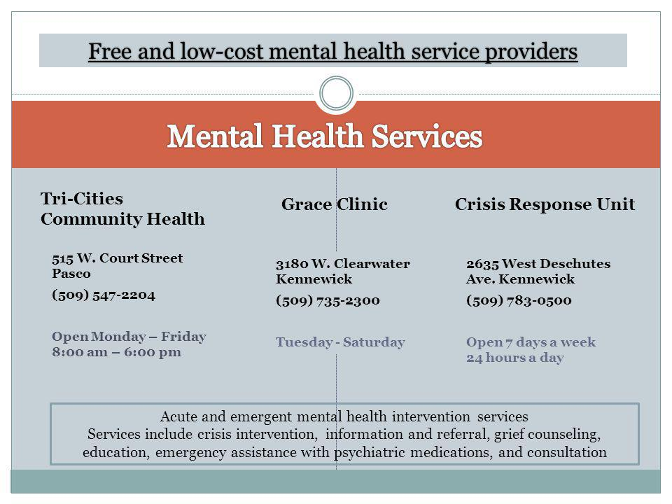Free and low-cost mental health service providers 515 W.