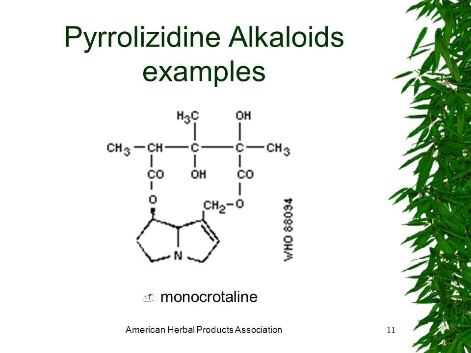 American Herbal Products Association11 Pyrrolizidine Alkaloids examples monocrotaline