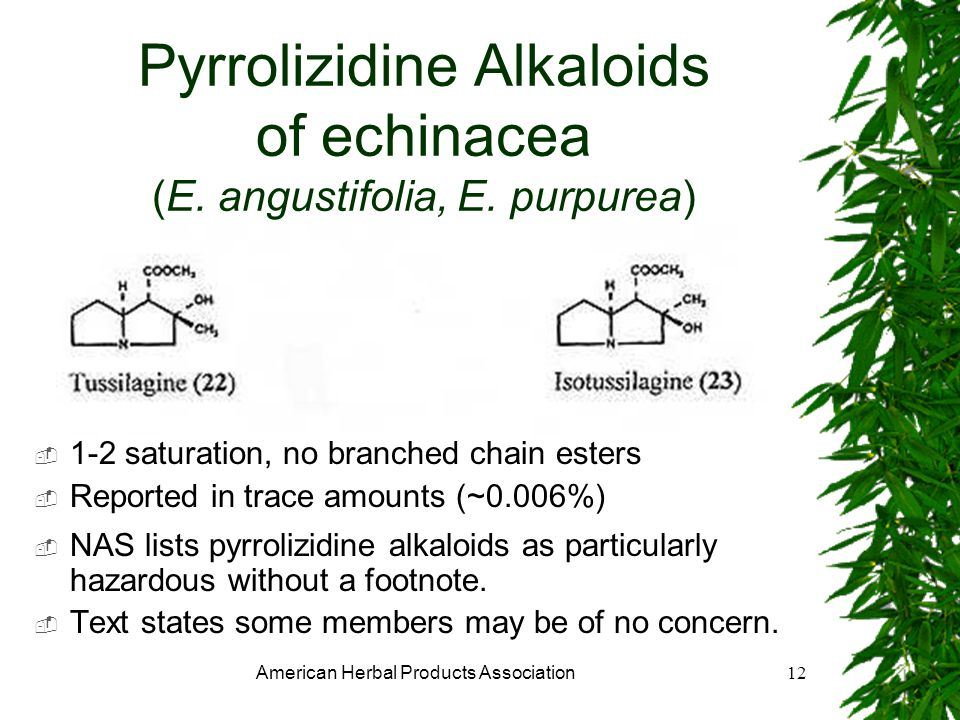 American Herbal Products Association12 Pyrrolizidine Alkaloids of echinacea (E.