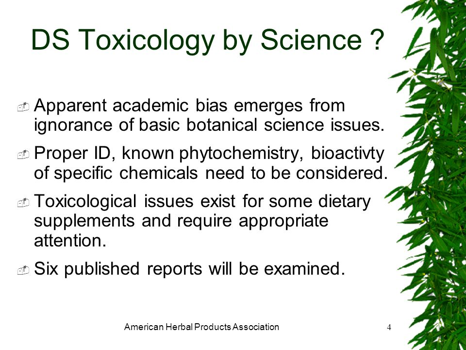American Herbal Products Association4 DS Toxicology by Science .