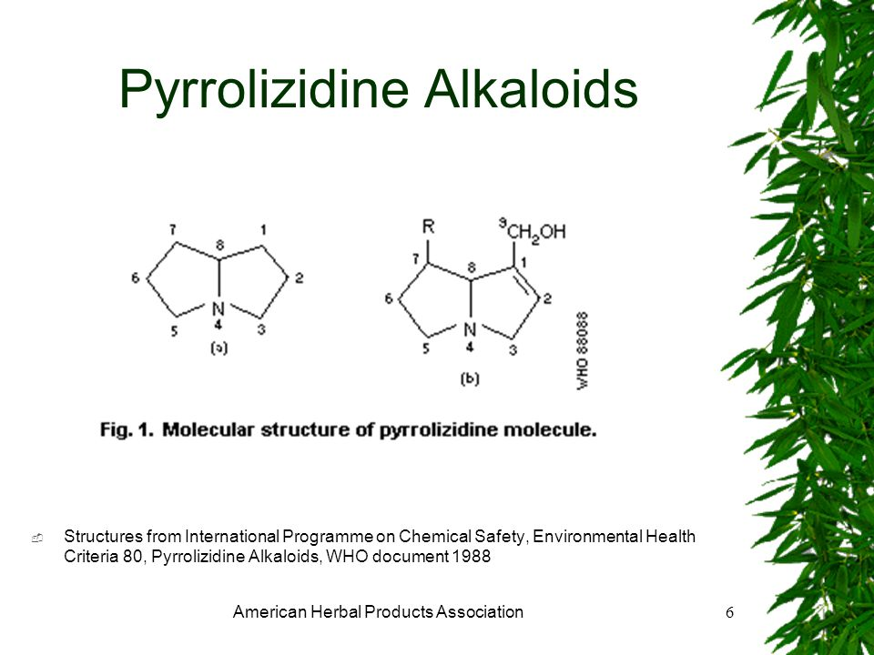 American Herbal Products Association6 Pyrrolizidine Alkaloids Structures from International Programme on Chemical Safety, Environmental Health Criteria 80, Pyrrolizidine Alkaloids, WHO document 1988